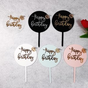 Other Festive & Party Supplies Cake Topper Sticks Transparent Round Acrylic Happy Birthday Letter Baking Decoration Colorful Writing Kids Ca