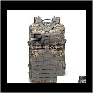 Packpacking Packs 50L Большая емкость Человек Армия Тактические рюкзаки Военные Штуки Нарушения на открытом воздухе 3P EDC Molle Pack для Trekking Camping UQ2NZ