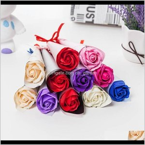 Faux Floral Greenery Couple Valentines Day Gift Multi Colors Singlebranched Rose Stylish Romantic Large Plastic Flower Bh0917 Zckz Fbjgm
