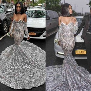 Luxury Silver Sequined Long Sleeve Mermaid Prom Dress for Black Girls Plus Size Court Train African Evening Formal Dresses 2020
