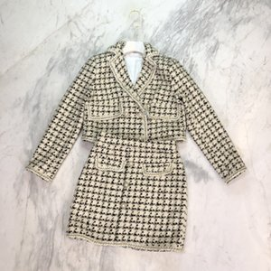 Shipping Free 2021 Autumn Beige Plaid Embroidery Women's Two Pieces Sets Brand Same Style Two Piece Dress DH022
