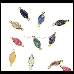Charms Findings Components Drop Delivery 2021 Trendy Small Oval Resin Stone Pendant Bracelet Necklace Gold Corolful Simple Diy Charm Jewelry