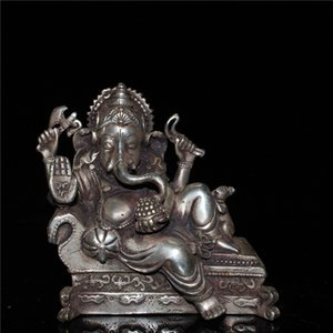 Chinese old craft Seiko made Tibetan Ginza elephant trunk god of wealth statue