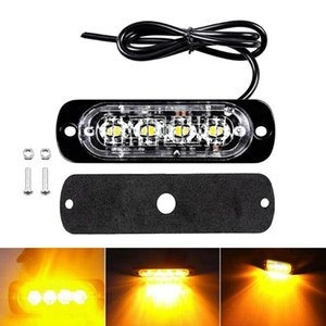 Amber LED Bar Car Truck Emergency 4 Pcs Lights Lamps W Protection Pad Urgent Light With Protection