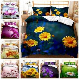 Bedding Sets HD Digital Print Flower Duvet Cover+ Pillowcase 2 3pcs Bed Set US AU EU Size Customized Cover