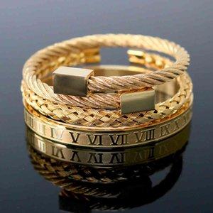 Ювелирные изделия ручной работы оптом из нержавеющей стали гексагональный квадратный головной римский цифровой браслет сплетенный браслет золотой титановый сталь браслет для мужчин