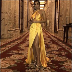 Backless Gold Sexy Long Prom Dresses High Slit A Line Shiny Satin Formal Dress For Women Plus Size Evening Party Gown Cheap