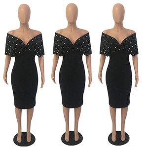 2020 Summer Slim Dresses Women V Neck with Bead Classy Lady Work Office Wear Bodycon Plus Size 3XL Elegant Modest Femme Clothes T200623
