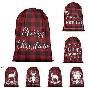 Gift Wrap Red and Black Plaid Present Bag with Drawstring Christmas Santa Sack Xmas Cotton Stocking Bags Party Supplies OWB10745