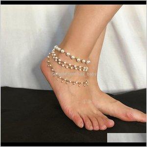 Drop Lieferung 2021 Instrich Sweet Imitation Perlen Quaste Fußklets Armband Frauen Barefoot Sandalen Koreanisch Multi Layer Knöchel Sommer Strand Juwel
