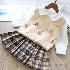 Kids cartoon clothes sets girls doll lapel shirt+stereo bears hollow knitted sweater vest+plaid pleated skirt 3pcs children princess outfits Q2039