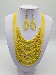 최신 패션 빈티지 보석 세트 조커 보헤미안 다층 다채로운 아프리카 구슬 문장 귀걸이 세트 KX 342 J2