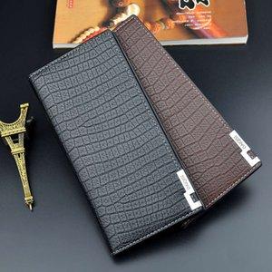 Men's Wallet Men's Long Zipper Thin Youth Soft Wallet 3 Fold Multi Clip Large Capacity Alligator