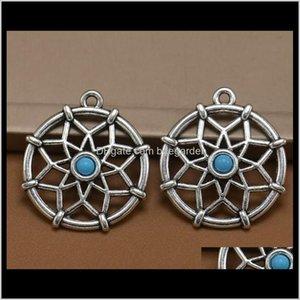 Risultati Componenti Drop Consegna 2021 Tibetan Sier Placcato Dreamcatcher Charms Ciondoli per gioielli Fare fai da te Fatti a mano Craftps0574 Oduzq