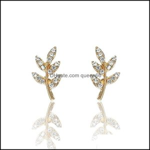 Earrings Jewelryfashion Gold Color Leaf Shape Stud Eearrings Women Vintage Crystal Ear Jewerly Drop Delivery 2021 8Htvg