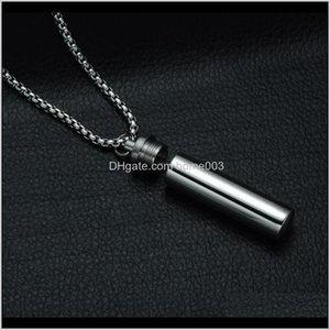 Necklaces Mens Cylindrical Perfume Shaped Urn Vial Pendant Necklace Memorial Ash Keepsake Cremation Jewelry Token Bottle Oyoja 8Gkma
