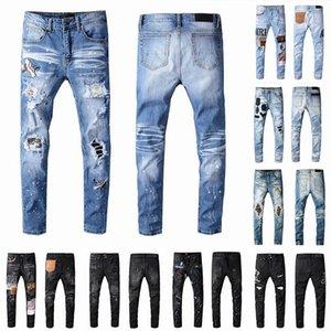 2021 Erkek Tasarımcı Kot Sıkıntılı Yırtık Biker Slim Fit Motosiklet Biker Denim Erkekler Için S Moda Mans Mans Siyah Pantolon 20ss Yayın Hommes