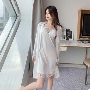 Women's Sleepwear Faux Silk 2PCS Robe Suit Casual Bathrobe Spring Autumn Sexy V-Neck Nightgown Lace Sweet Home Dress Nightwear