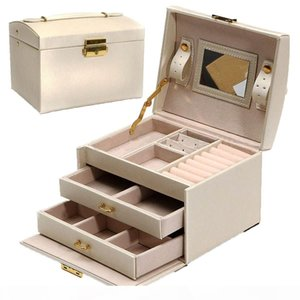 Large Jewelry Packaging & Display Box Armoire Dressing Chest With Clasps Bracelet Ring Organiser Carrying Cases SH190723