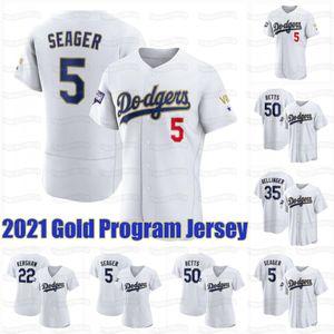 Dodgers 2021 Gold Programme Jersey Mookie Betts Corey Seger Trevor Bauer Zach McKinstry Cody Bellinger Kershaw Justin Turner Prix Hernandez Pollock Muncy