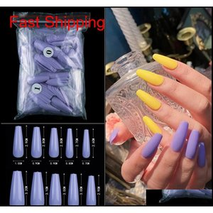 Professional 500Pc Coffin Long Ballerinastiletto Tips Full Cover Diy False Nail Acrylic Press On Fake Nails Salon Manicure Gme3P 4Haly