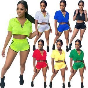 여름 womens tracksuits 두 조각 세트 반바지 짧은 소매 운동복 조깅 스포츠 셔츠 바지 정장 Sweatshirt 스포츠 슈트 KLW6617 판매