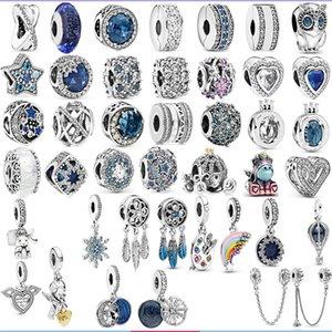Charm Pandora s925 Sterling Silver Beads Heart of the Sea Blue Series Beaded Globe HotAir Balloon