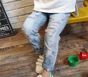 Children Broken Hole Jeans Spring Fashion Toddler Clothing Kids Ripped Denim Trousers Pants For Boys Girls 0976 V2
