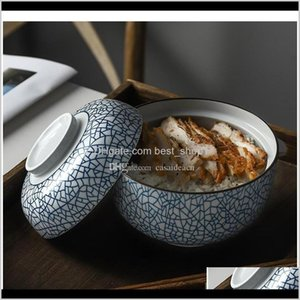 Zen Spirit Japanese Bowl With Lid For Rice Noodle Soup Vintage Underglaze Handmade Ceramic Bowls Stew Tureen Sqcpsv Mtgy8 C6Pea