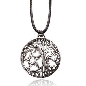 Supernatural Yggdrasil Tree Of Life NECKLACE Witch Protection Pendants With Leather Chain Women Men Jewelry Pendant Necklaces