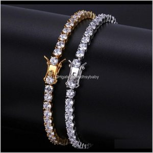 Drop Delivery 2021 Designer Mens Bracelets Hip Hop Jewelry Diamond Tennis Bracelet Iced Out Hiphop Bling Bangles Luxury Charm Rapper Gold Sie