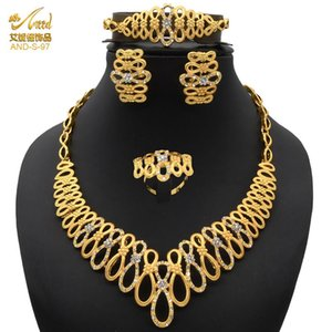 Jewelery Sets Gold Set For Woman Flower Necklace Dubia Jewelry Earing Neckleag Ring Bangles Women Wedding Earrings &