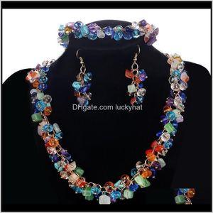 Hesiod 8Colors Bib Chunky Choker Collar Set Natural Stone Wedding Jewelry Sets Cz Beads V5Lhj Hzlta