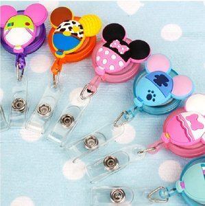 Retractable Badge Reel Pull Buckle ID Card Holder School Office Supplies Anti-Lost Clip Cute Cartoon Silicone Reels Belt