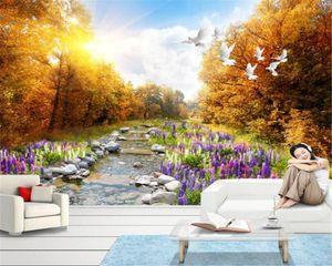 Обои домашний декор 3D обои красивая лаванда пейзаж фон стены роспись гостиной спальня телевизор Wallpape