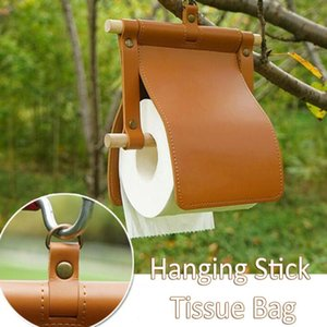 Tissue Boxes & Napkins 40#Wooden Stick Leather Paper Towel Rack Holder Non-perforated And Hangable Cover Camping Roll