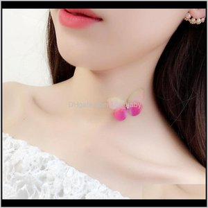 Chokers Necklaces & Pendants Drop Delivery 2021 Korea Summer Simple Design Invisible Choker With Butterfly Pendant Fishing Line Necklace Tran