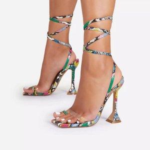 Sandalet Doris Fanny 9 cm Yaz Dar Bant Ayak Bileği Kayışı kadın Yüksek Topuklu Strappy Baskılı Ayakkabı De Mujer