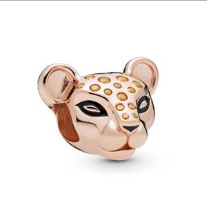 Original 925 Sterling Silver Beads Rose Gold Lioness With Honey Coloured Stones Charm Fit Pandora Bracelet & Necklace ps2437