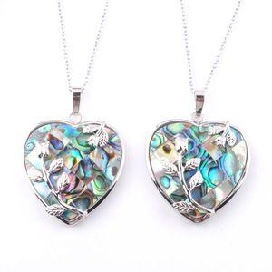 Wojiare 6pcs / lot cuore ciondolo collana gioielli naturali neozelandese abalone conchiglia perla boho stile perline coppie regalo DN3643