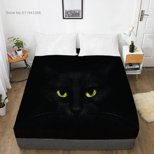 Sheets & Sets Animal Black Cat Eyes 3D Fitted Sheet Bed With Elastic Queen King Custom Cute Mattress Cover For Bedroom Decor