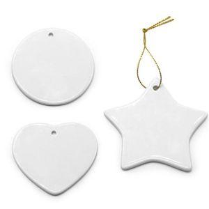 Em branco Branco Sublimação Cerâmica Pingente Creative Christmas Ornamentos Transferência de Calor Impressão DIY Moda Ornamento Coração Redondo Decoração Festiva