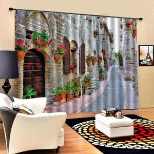 Curtain & Drapes Customized Size Luxury Blackout 3D Window Curtains For Living Room Extended Space Street Alley
