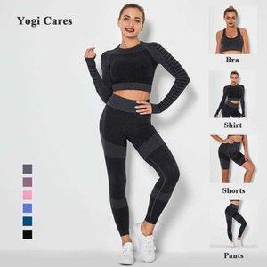 Abbigliamento domestico da donna Yoga Set a vita alta Sportsware Leggings Gym Vestiti da palestra Pantaloncini da allenamento Vestito Fitnsets per le donne X0629