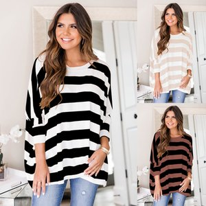 Famous designer ladies knits sweater casual bat top three-quarter sleeves loose stripe contrast color fashion and comfortable S-XL size