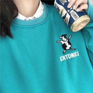 Autumn Hoodie Women College Atyle Cartoon Cow Embroidery Loose Round Neck Pullover Casual Hoodies Harajuku Women's & Sweatshirts