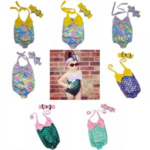 Children Girls Mermaid Swimwear Bow Headband+Bow Swimsuit 2pcs set Cartoon Mermaid Bikini Kids One-piece Swimming Suit
