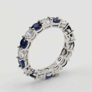 Wholesale Lots of Stock Sparkling Fashion Jewelry Real 925 Sterling Silver Blue Sapphire CZ Diamond Stack Wedding Band Ring for Women Gift