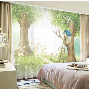 Curtain & Drapes Custom Chiffon Window Drape For Nursery Kids Children Living Room Hare Tree House Khaki Gray Brown Pink Blue