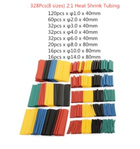 164pcs 328pcs 127pcsSet Polyolefin Shrinking Assorted Heat Shrink Tube Wire Cable Insulated Sleeving Tubing Set 2:1